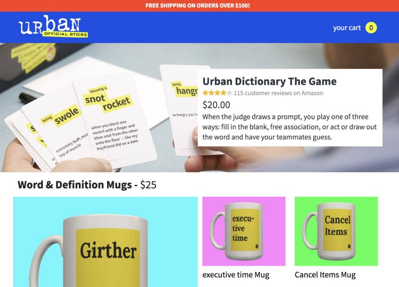 Urban Dictionary store header featuring their game and two mugs