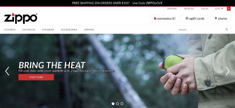 Zippo store header with a man holding zippo and cta to shop