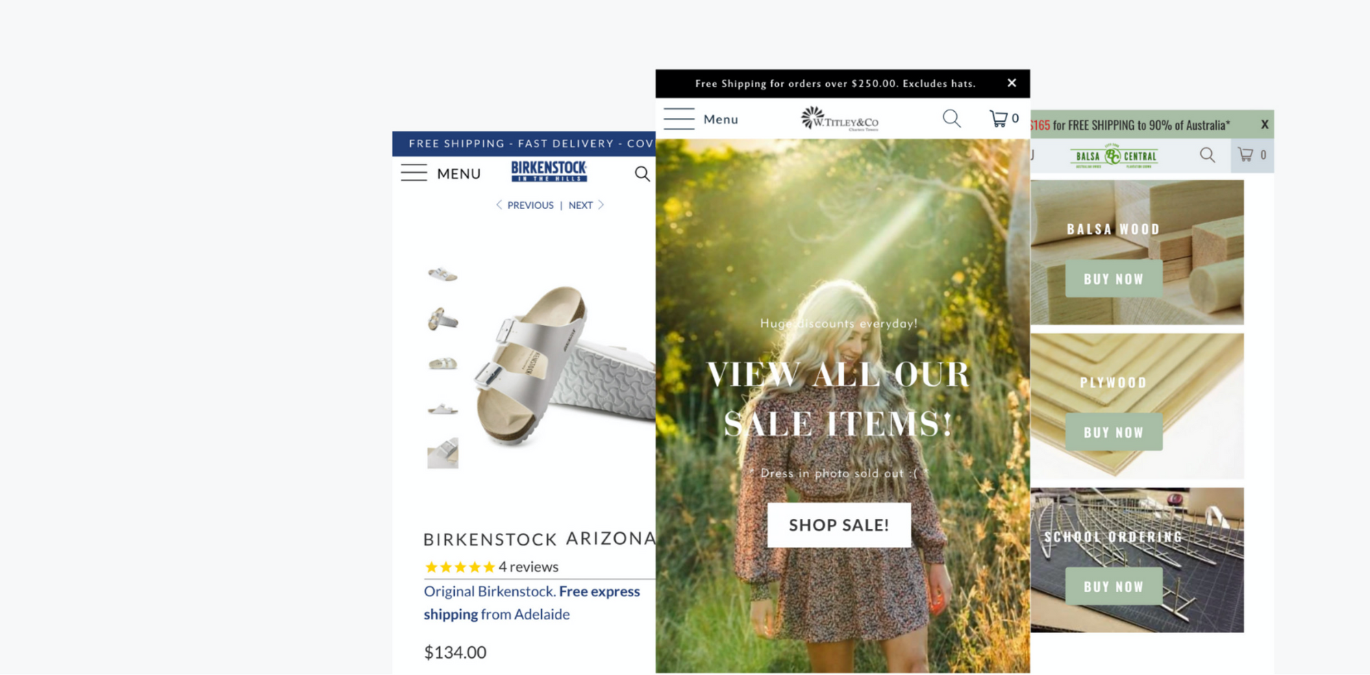 Birkenstock In the Hills, W Titleys & Co, Balsa central: Shopify growth program case studies
