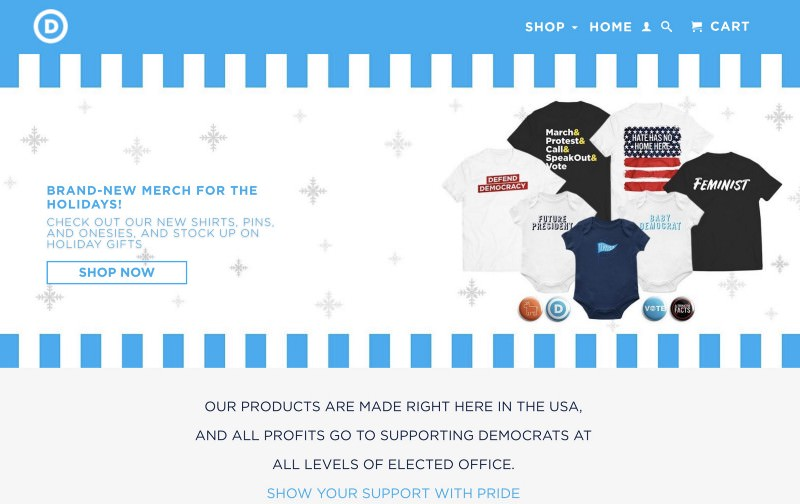 Democrat shop header with holiday offering of tees