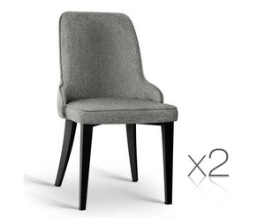 Set of 2 Fabric Dining Chairs Grey