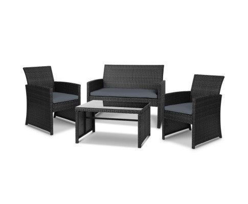 4 Piece Rattan Outdoor Setting