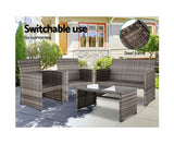 Outdoor Rattan Chairs & Table - Grey