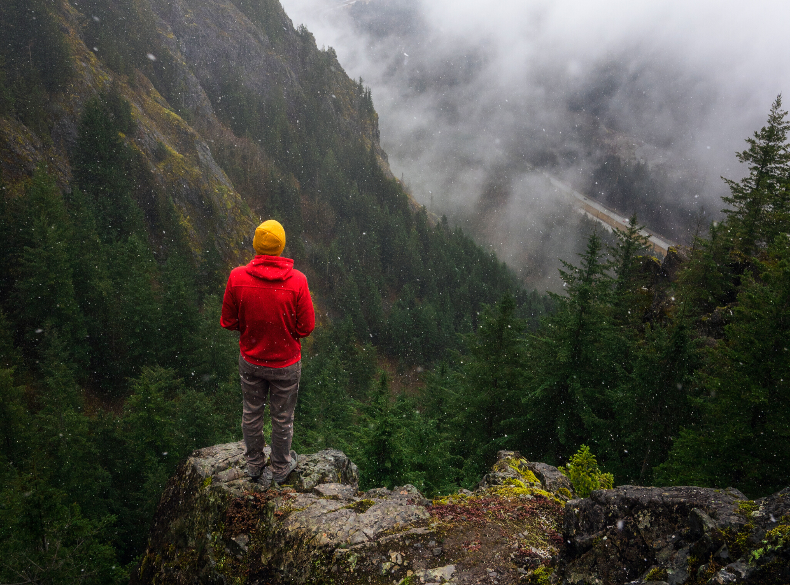 red heated hoodie mountains
