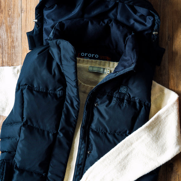 heated hooded vest with sweater