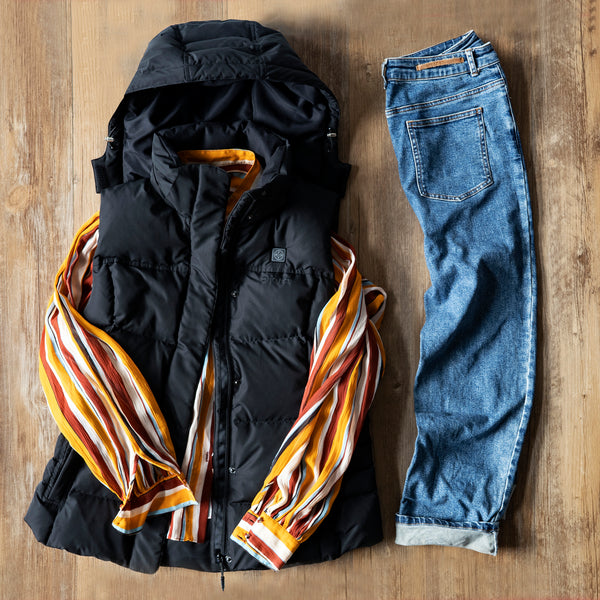 heated vest with blouse and jeans