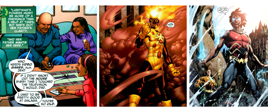 Pierce family, Firestorm and Aqualad; panels courtesy of DC Comics, DC Universe