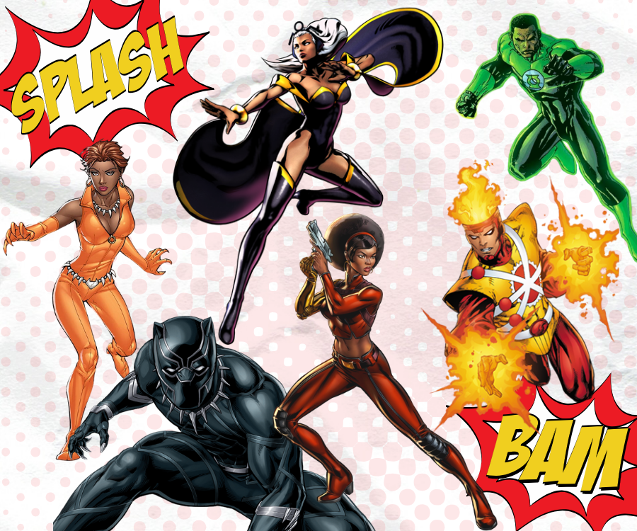 character images courtesy of DC Comics and Marvel Comics