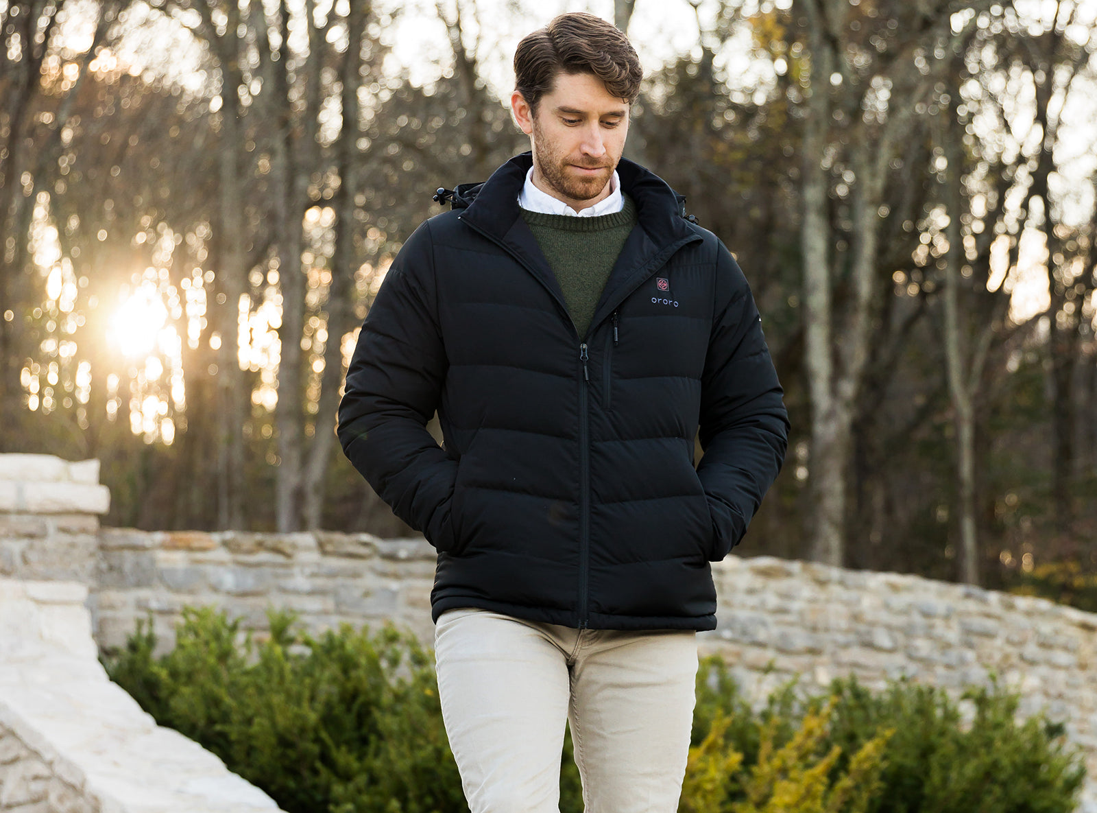 heated down jacket for men