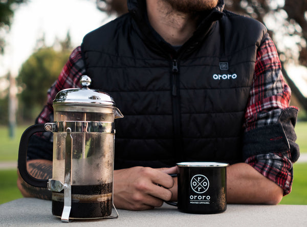 drink a hot cup of coffee in your heated vest