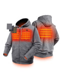 Unisex Heated Fleece Hoodie - 3 carbon fiber heating elements  - ORORO