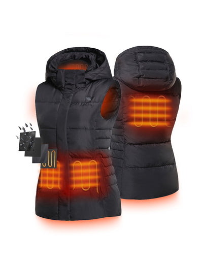 Women Heated Down Vest - Four (4) carbon fiber heating elements - ORORO