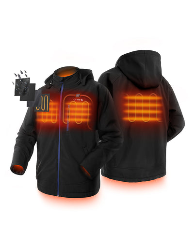Men Heated Jacket- Black - ORORO