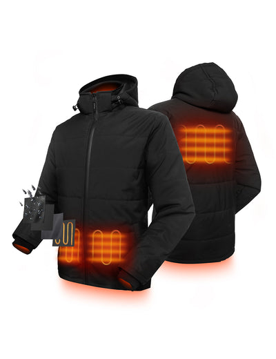 Men Heated Padded Jacket - Black - ORORO