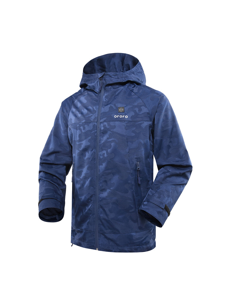 Men Camo Heated Jacket - Navy-ORORO