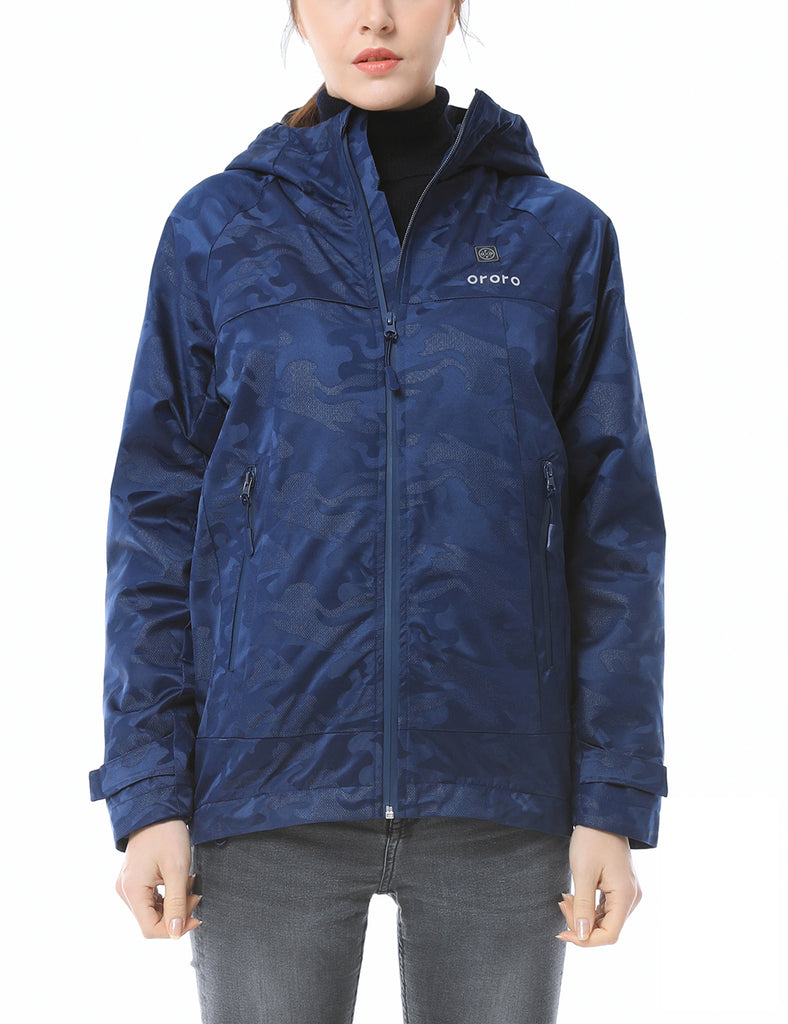 Women Camo Heated Jacket - Navy-ORORO