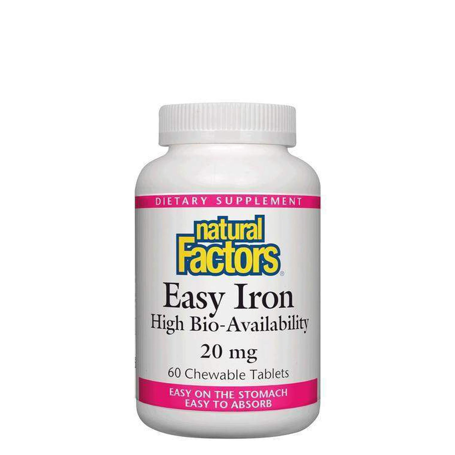 Natural Factors, Easy Iron, High Bio-Availability, 20mg, 60 Chewable Tablets