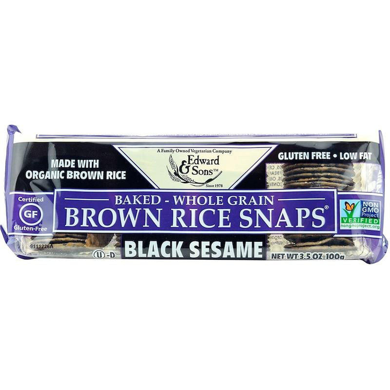 Edward & Sons, Brown Rice Snaps, Black Sesame 3.5oz/100g-Groceries-Edward & Sons-The Store