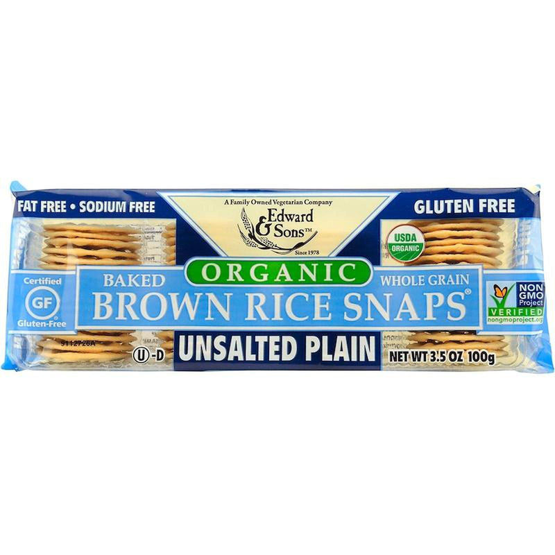 Edward & Sons, Brown Rice Snaps, Unsalted Plain 3.5oz/100g-Groceries-Edward & Sons-The Store