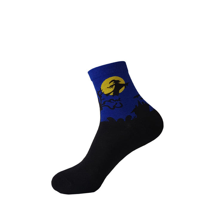 Blue Witch Halloween Socks -  Blue Witch Halloween Crew Socks - Funny Blue Witch Halloween Socks - Cool Blue Witch Halloween Socks - The Sock Goblin