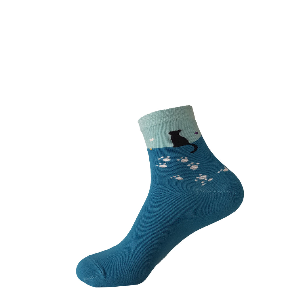 Blue Cat Socks - Blue Cat Crew Socks - Cute Blue Cat Socks - Cool Blue Cat Socks - The Sock Goblin