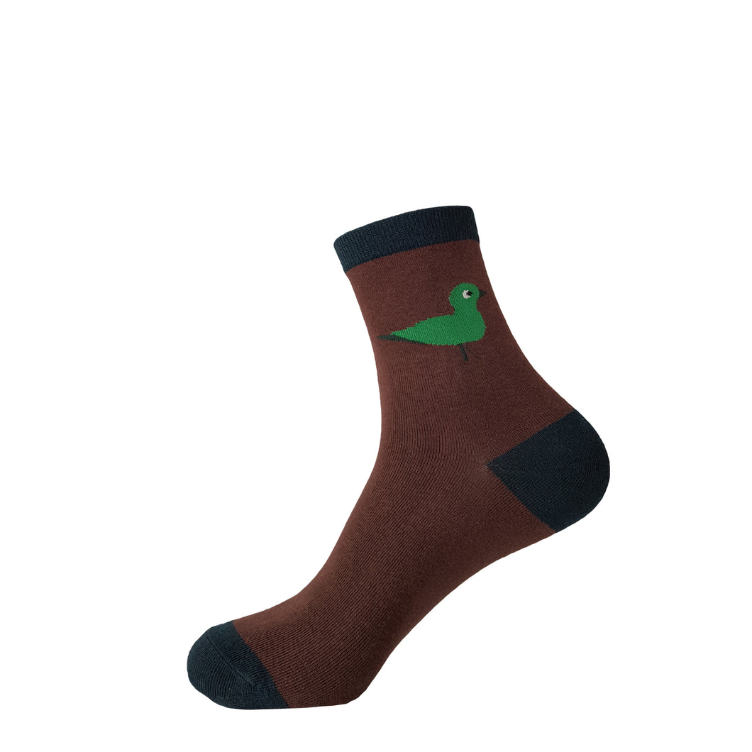 Brown Socks with Green Bird - Brown Crew Socks with Green Bird - Cute Brown Socks with Green Bird - Cool Brown Socks with Green Bird - The Sock Goblin