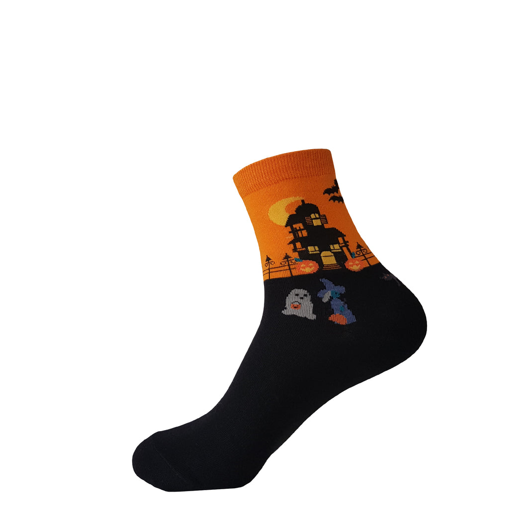 Orange Trick or Treat Halloween Socks -  Orange Trick or Treat Halloween Crew Socks - Funny Orange Trick or Treat Halloween Socks - Cool Orange Trick or Treat Halloween Socks - The Sock Goblin