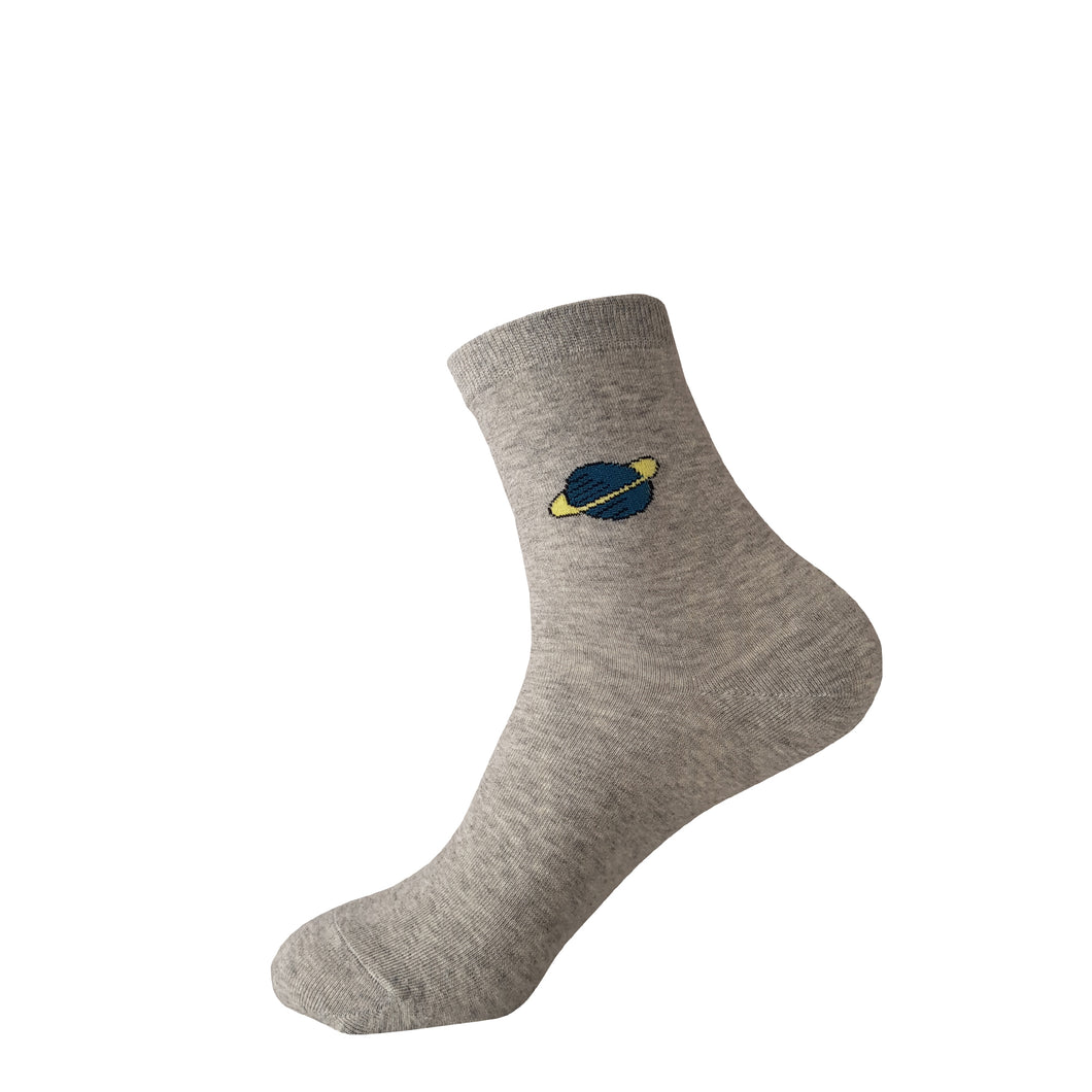 Grey with Blue Planet with Rings Socks -  Grey with Blue Planet with Rings Crew Socks - Cool Grey with Blue Planet with Rings Socks - The Sock Goblin