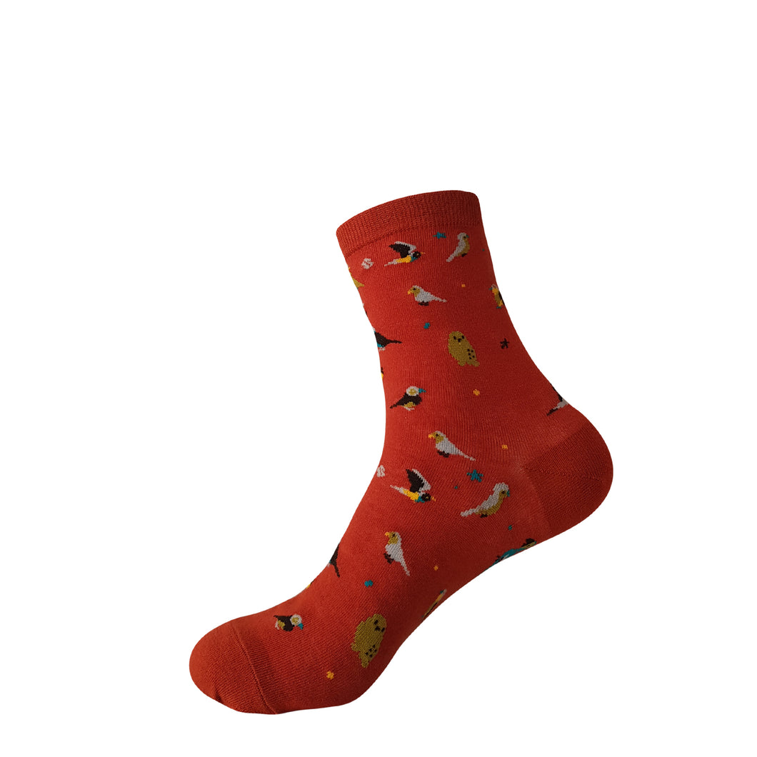 Red with Birds Socks - Red with Birds Crew Socks - Cute Red with Birds Socks - Cool Red with Birds Socks - The Sock Goblin