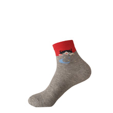 Grey and Red Cat Socks - Grey and Red Cat Crew Socks - Cute Grey and Red Cat Socks - Cool Grey and Red Cat Socks - The Sock Goblin