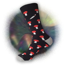 Black Shroom Socks - Shroom Crew Socks - Cute Shroom Socks - Cool Shroom Socks - The Sock Goblin