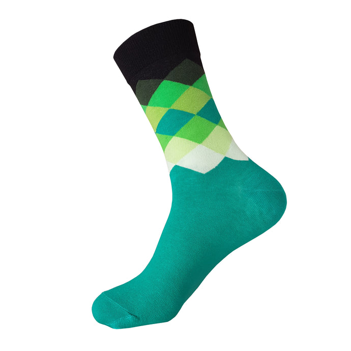 Green and Black Argyle Pattern Socks -  Green and Black Argyle Crew Socks - Cool Green and Black Argyle Socks - The Sock Goblin