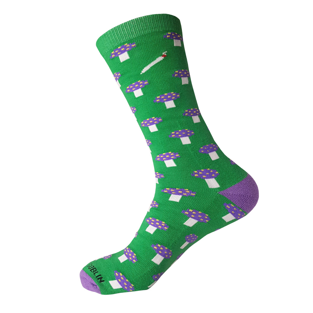 Mushroom Sock - Green Mushroom Crew Sock - Cool Sock - Novelty Sock - The Sock Goblin