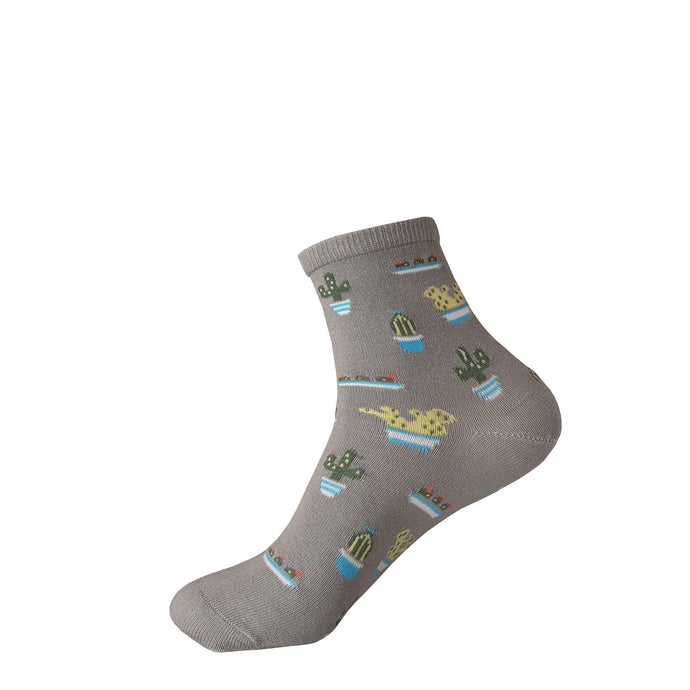 Grey Cactus Socks - Grey Cactus Socks - Crew Socks - Cute Socks - The Sock Goblin