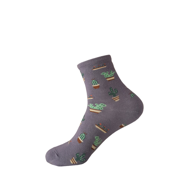 Purple Cactus Socks - Purple Cactus Socks - Crew Socks - Cute Socks - The Sock Goblin
