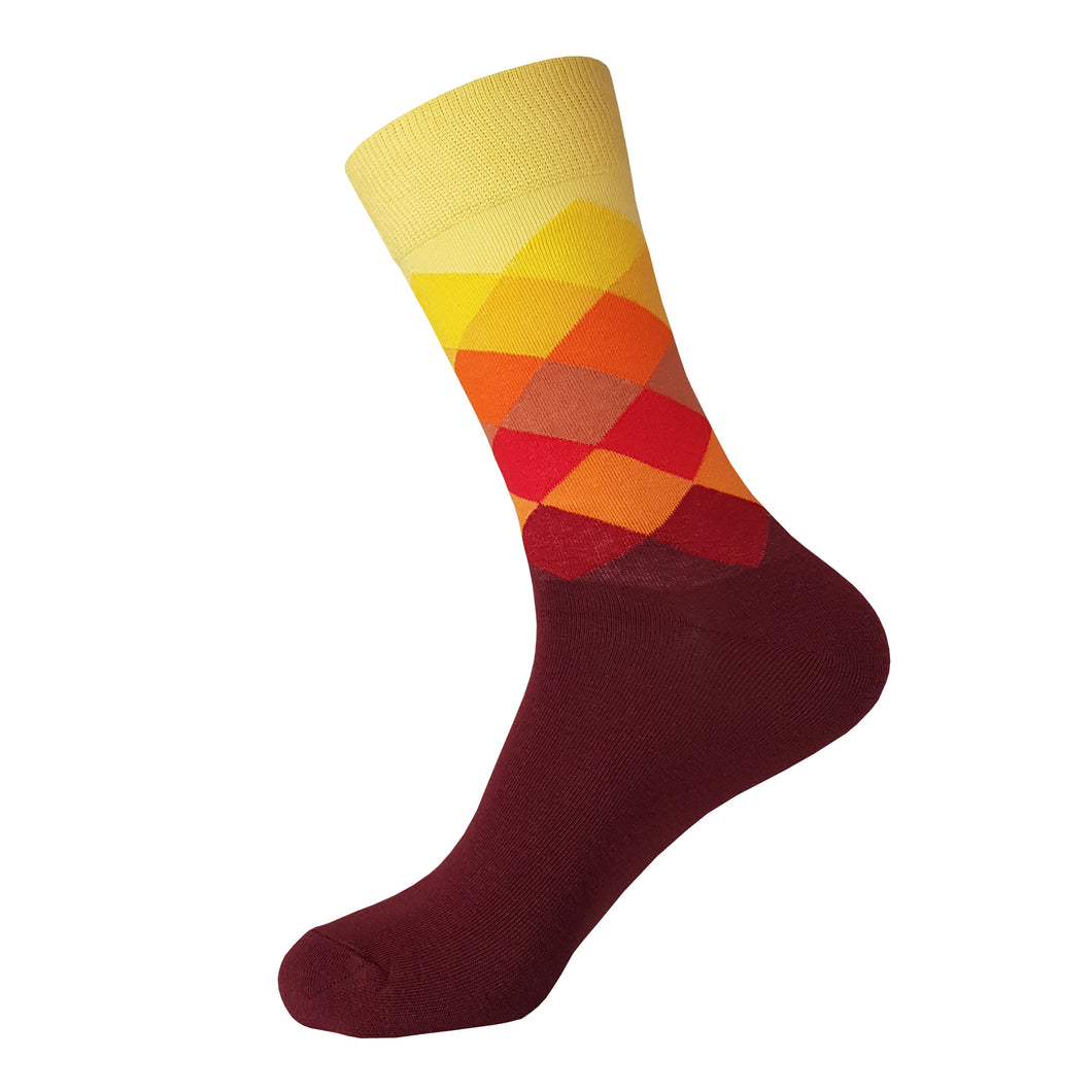Red and Yellow Argyle Pattern Socks -  Red and Yellow Argyle Crew Socks - Cool Red and Yellow Argyle Socks - The Sock Goblin