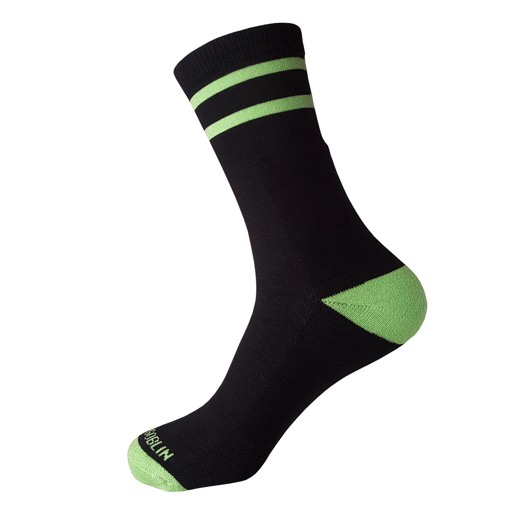 Black with two Green Stripes Socks -  Black with two Green Stripes Crew Socks - Cool Black with two Green Stripes Socks - The Sock Goblin