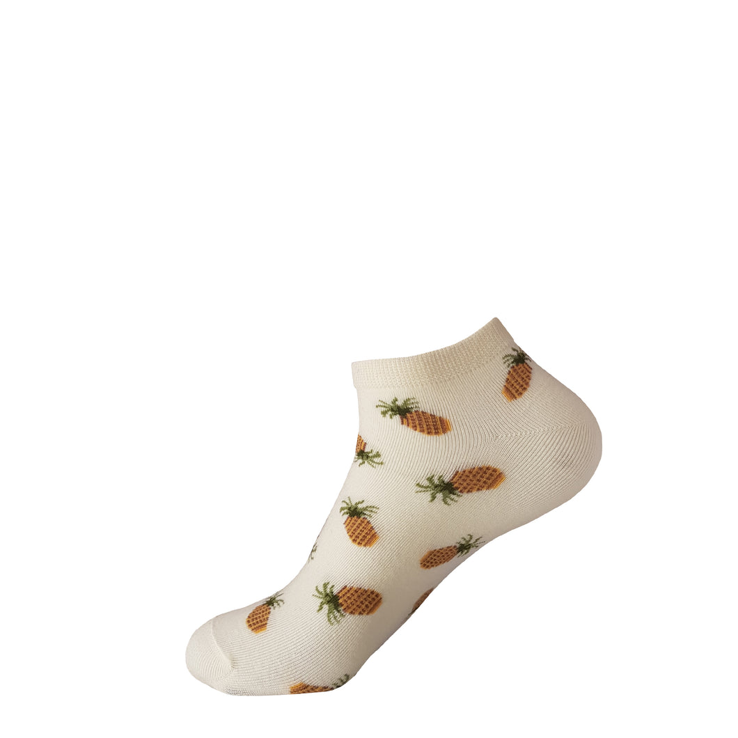 Pineapple Socks - White Pineapple Socks - Ankle Socks - Cute Socks - The Sock Goblin