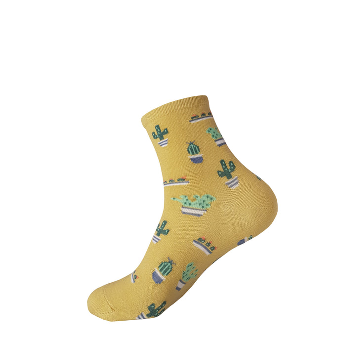 Cactus Socks - Yellow Cactus Socks - Crew Socks - Cute Socks - The Sock Goblin