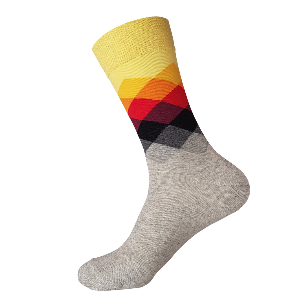 Grey and Yellow Argyle Pattern Socks -  Grey and Yellow Argyle Crew Socks - Cool Grey and Yellow Argyle Socks - The Sock Goblin