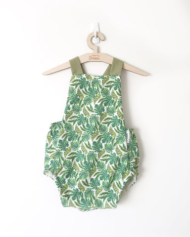 Tropical Palms Suspender Playsuit