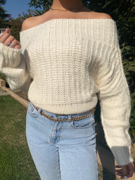 CECE OFF THE SHOULDER SWEATER