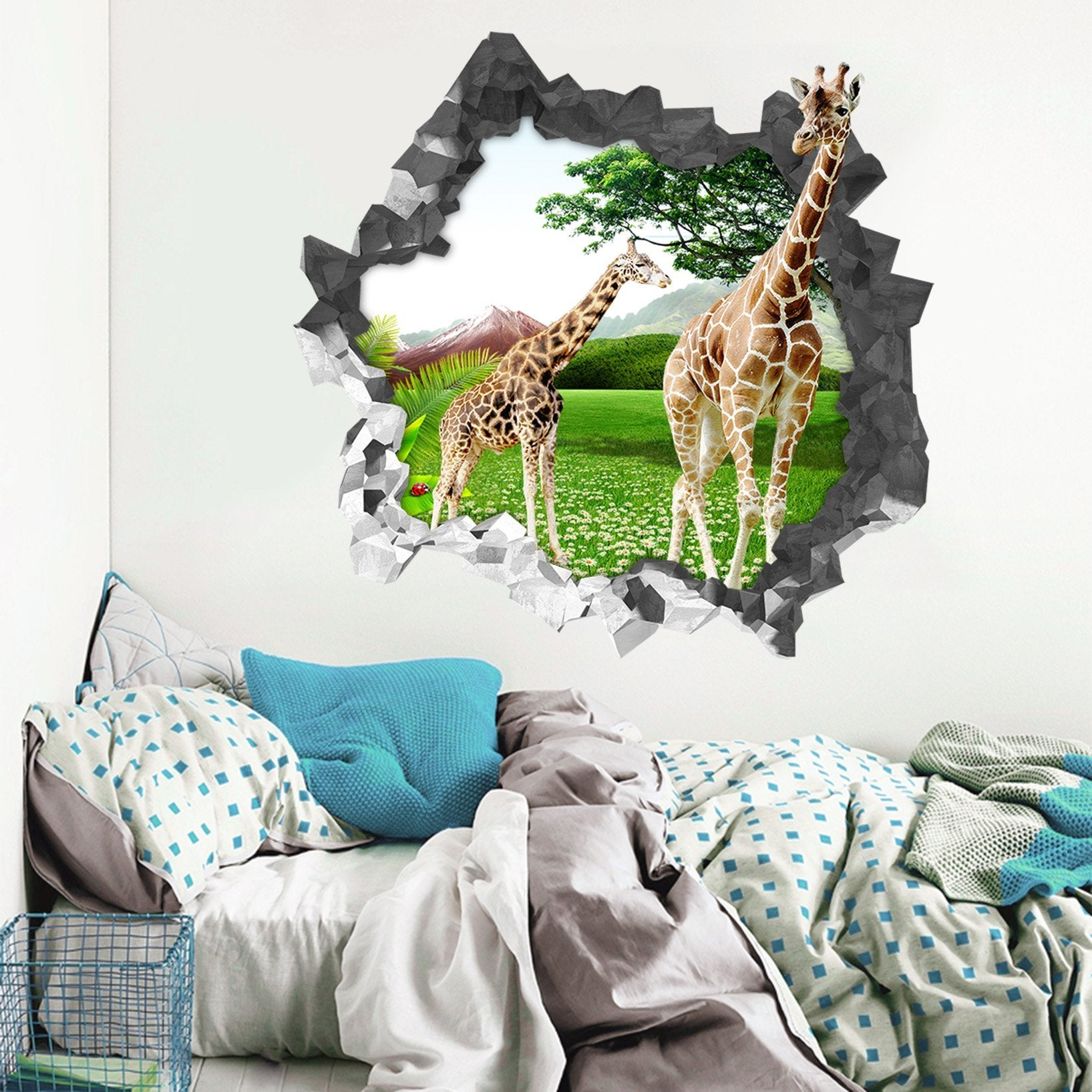 3D Lawn Giraffes 6 Broken Wall Murals Wallpaper AJ Wallpaper