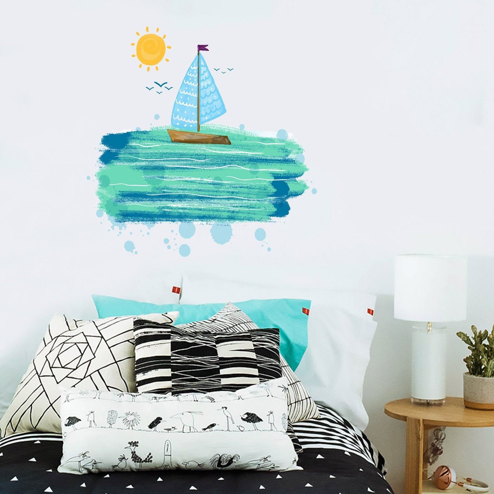 3D Graffiti Sun Boat 162 Wall Stickers Wallpaper AJ Wallpaper