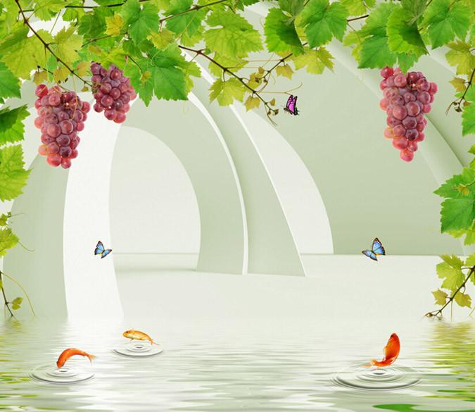 3D Grape And Fish Wallpaper AJ Wallpaper 1