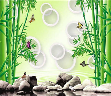 3D Bamboo forest stone butterfly Wallpaper AJ Wallpaper 1