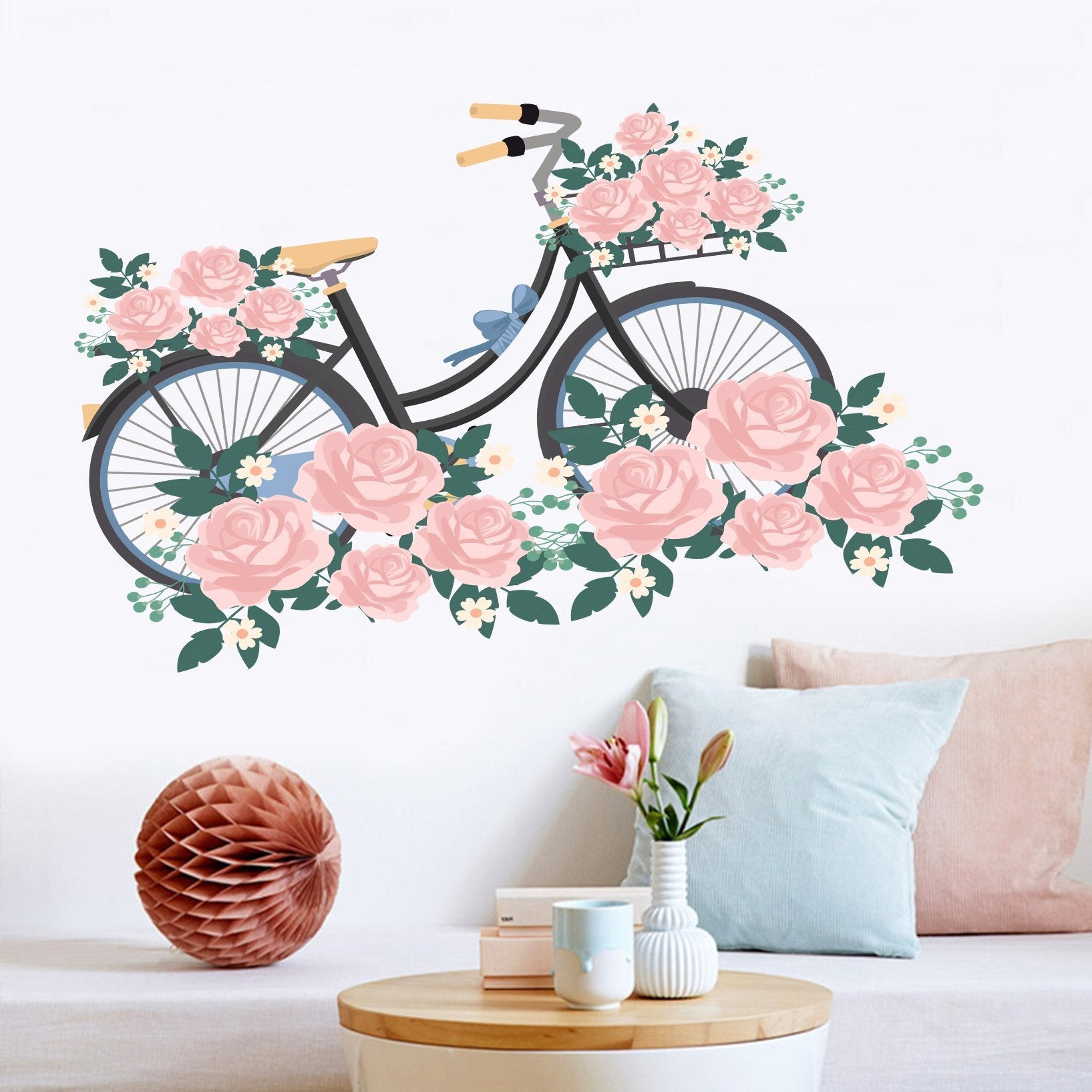 3D Bicycle Flower 025 Wall Stickers Wallpaper AJ Wallpaper