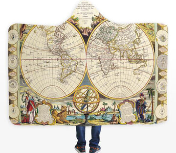 3D Faith World Map 330 Hooded Blanket