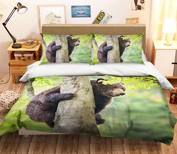 3D Black Bear Tree 110 Bed Pillowcases Quilt