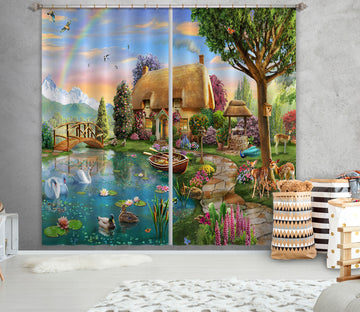 3D Painted Village 066 Adrian Chesterman Curtain Curtains Drapes